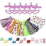 ASIV 12 Mode Robes Vêtements et 12 Chaussures et 12 Cintres pour Barbie Poupée (36Pcs)