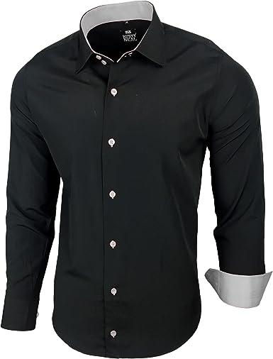 Camisa, estilo elegante, polo, corte ajustado, talla S M L XL XXL R-44 negro, gris XXXL : Amazon.es: Ropa y accesorios