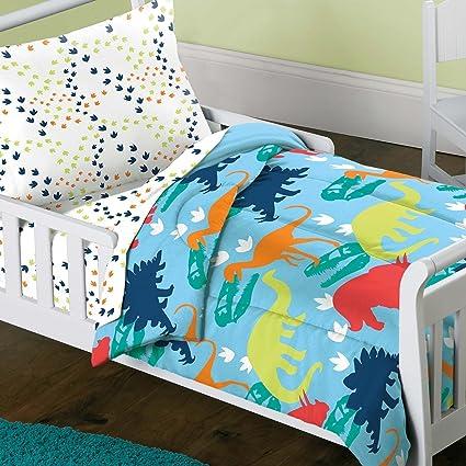 Delicieux 4 Piece Kids Dinosaur Toddler Bedding Set, Bed In A Bag Dinosaur Comforter  Set Print