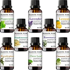 MajesticPure Aromatherapy Essential Oils Set for Diffuser, Includes Lavender, Frankincense, Peppermint, Eucalyptus, Lemon, Clove Leaf, Cinnamon Leaf & Rosemary Oils- Pack of 8-10 ml each