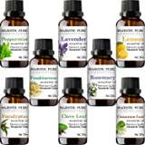 MajesticPure Aromatherapy Essential Oils Set, Includes Lavender, Frankincense, Peppermint, Eucalyptus, Lemon, Clove Leaf, Cinnamon Leaf & Rosemary Oils- Pack of 8-10 ml each