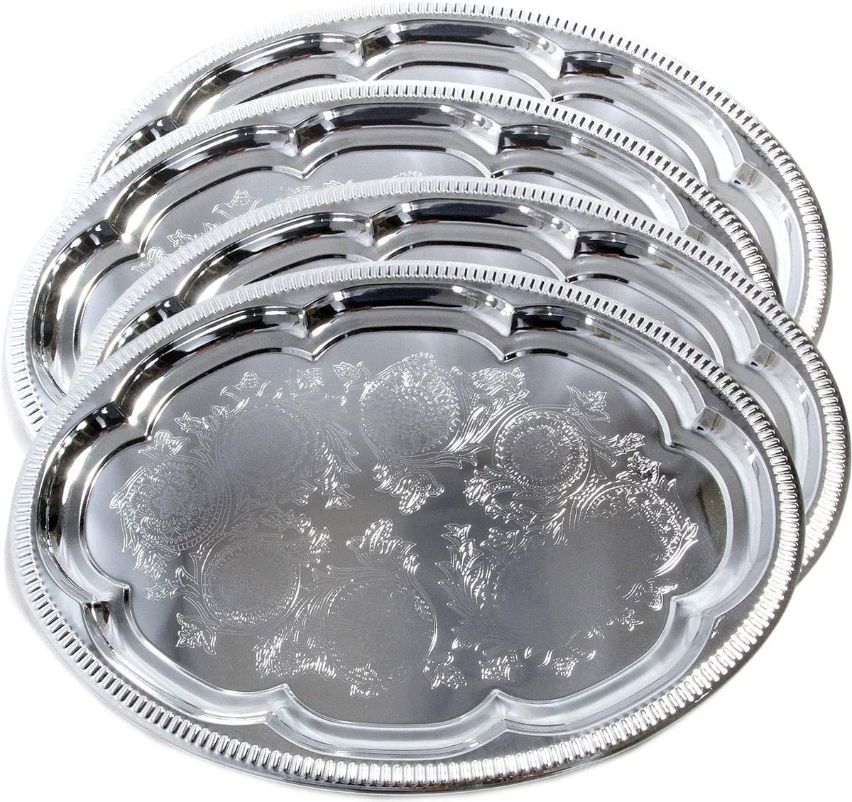 Maro Megastore (Pack of 4) 15.7-Inch x 11.4-Inch Traditional Oval Floral Pattern Engraved Catering Chrome Plated Serving Plate Mirror Tray Platter Tableware Christmas Holiday Party (Medium) T225m-4pk