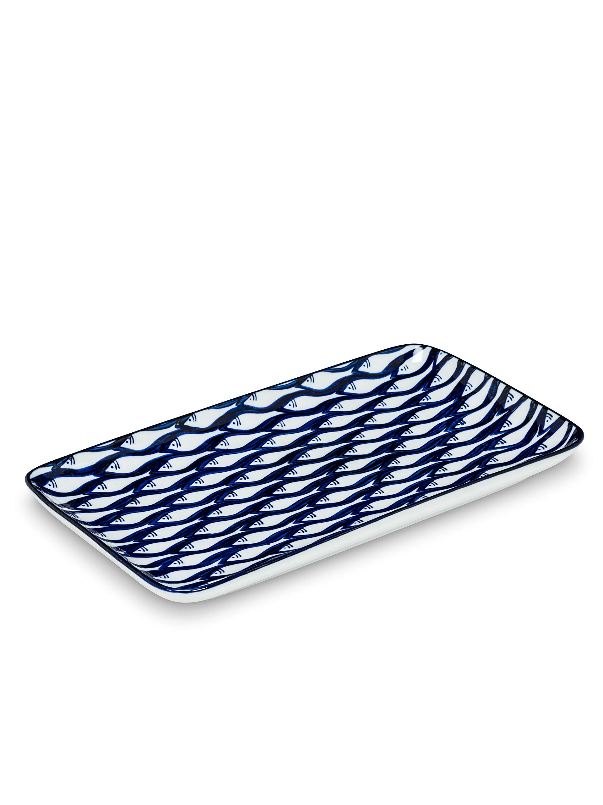 Abbott Collection 27-Cayman Rect Fish School Plate-6x11 L, 6x11 inches Long, Blue and White