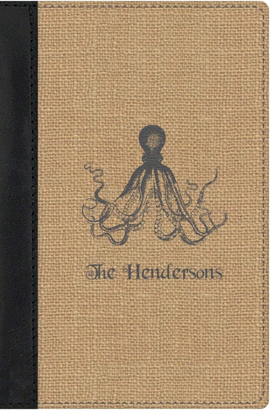 Octopus /& Burlap Print Genuine Leather Passport Cover Personalized
