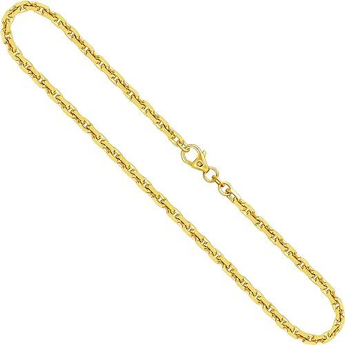 Goldkette, Ankerkette diamantiert Gelbgold 3338 K, Länge 45