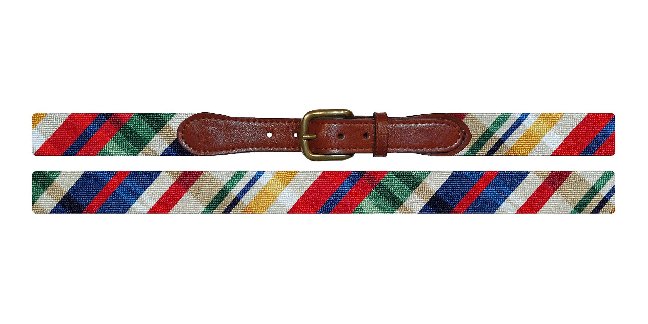 Smathers & Branson Madras Men's Needlepoint Belt, Size 42 - Multi (B-266-42)