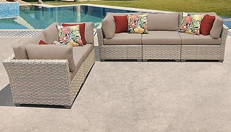Amazon.com: TKC Monterey 5 piezas Conjunto de sofá de mimbre ...
