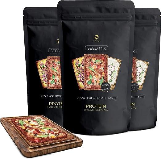 Nutringo Mezcla para Pizza protéica 3x200g | 31% Proteína sólo 9g. Carbohidratos | Sin gluten | 12x100g Pizzas o Tartes o 48x25g Pan crujiente | Para ...