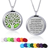 Mtlee Aromatherapy Essential Oil Diffuser Necklace Locket Pendant Stainless Steel Perfume Necklace with 16 Refill Pads and 24 inch Adjustable Chain (Tree A)