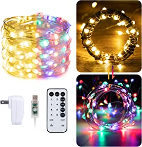 Dual Color String Lights 33 Feet 100 Led Color Changing Fairy Lights Waterproof Twinkle Mini Christmas Lights with Remote and Plug for Indoor Outdoor Bedroom Birthday Wedding Holiday Party Decoration