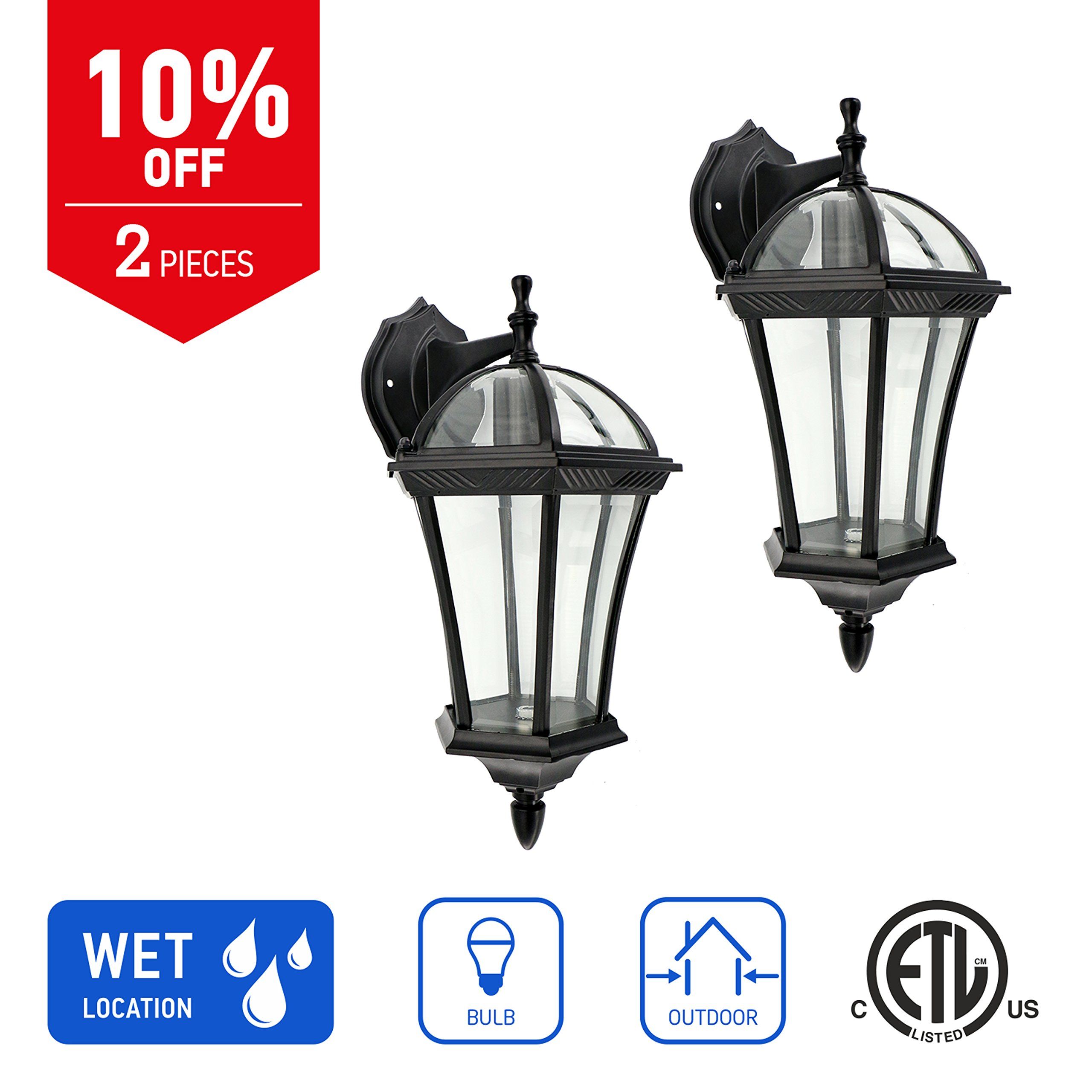 IN HOME 1-Light Outdoor Exterior Wall Down Lantern, Traditional Porch Patio Lighting Fixture L06 with One E26 Base, Water-Proof, Black Cast Aluminum Housing, Clear Glass Panels, (2 Pack) ETL Listed