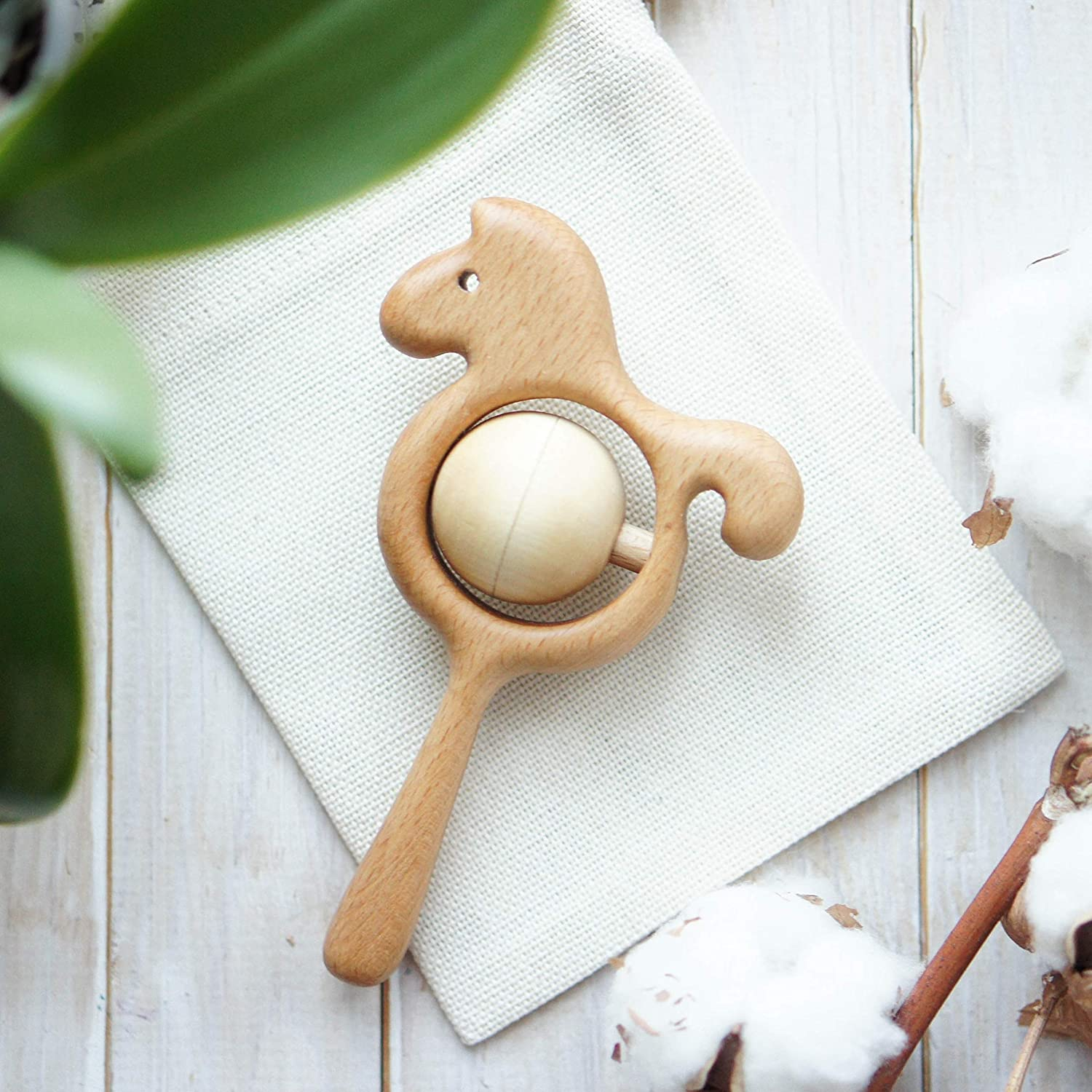 Organic Wooden Horse Rattle with Peas - Baby Shower Gift - Traditional Rattle Toy