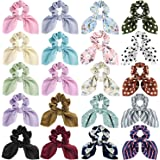 Bow Scrunchies for Hair, Funtopia 20 Pcs Cute Rabbit Bunny Ear Scrunchies with Dotted Striped Floral Patterns and Solid Colors, Fashion Scrunchy Hair Ties Bowknot Ponytail Holders for Women Girls