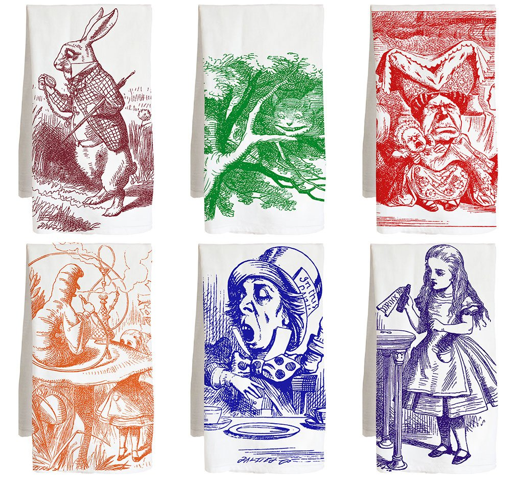 Live Nice Alice in Wonderland - SIX Pack - Literary - Farm Flour Sack Kitchen Tea Towel