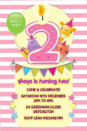 Personalised 2nd Birthday Party Invitations X10 BOY GIRL