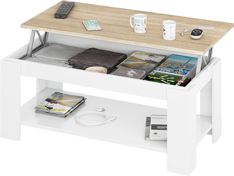 Habitdesign Mesa de salón con revistero Incorporado