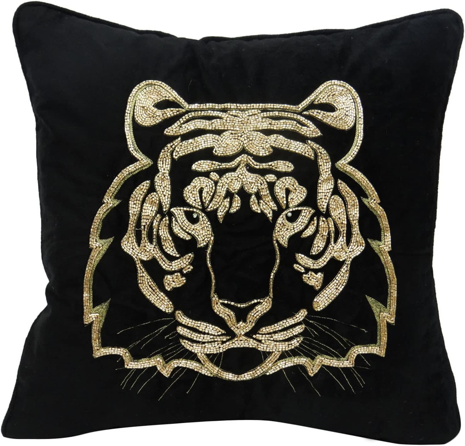 Amazon Com S4sassy Hand Embroidered Tiger Cushion Cover Animal Velvet Pillow Case Square Black 20 X 20 Home Kitchen