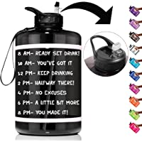 $22 » HydroMATE 1 Gallon Straw Motivational Water Bottle with Time Marker Large BPA Free Jug…