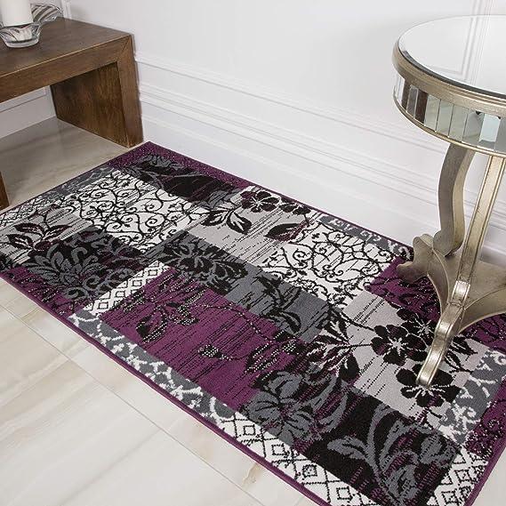 Milan Purple Black Gray Patchwork Area Rug 1568 H33 2 6 X 5 0 Home Kitchen Amazon Com