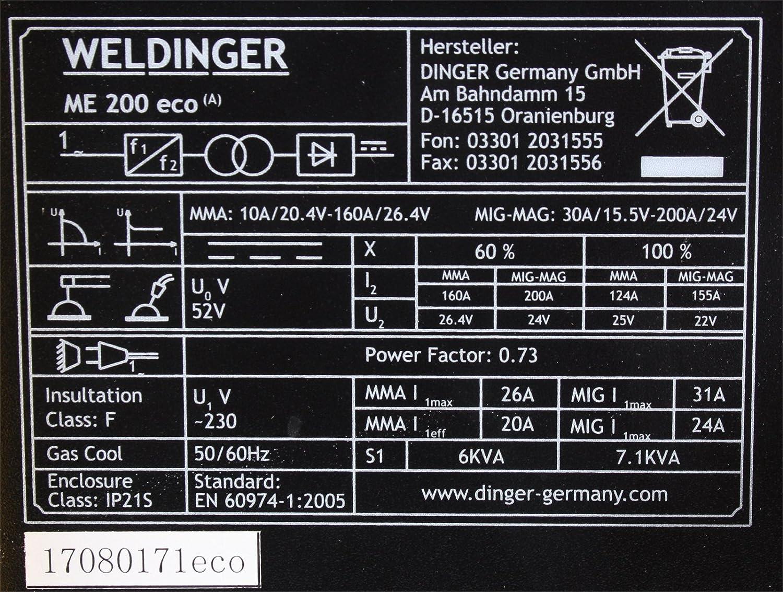 MIG-MAG Schutzgasschweißgerät / Schweißinverter ME 200eco von ...
