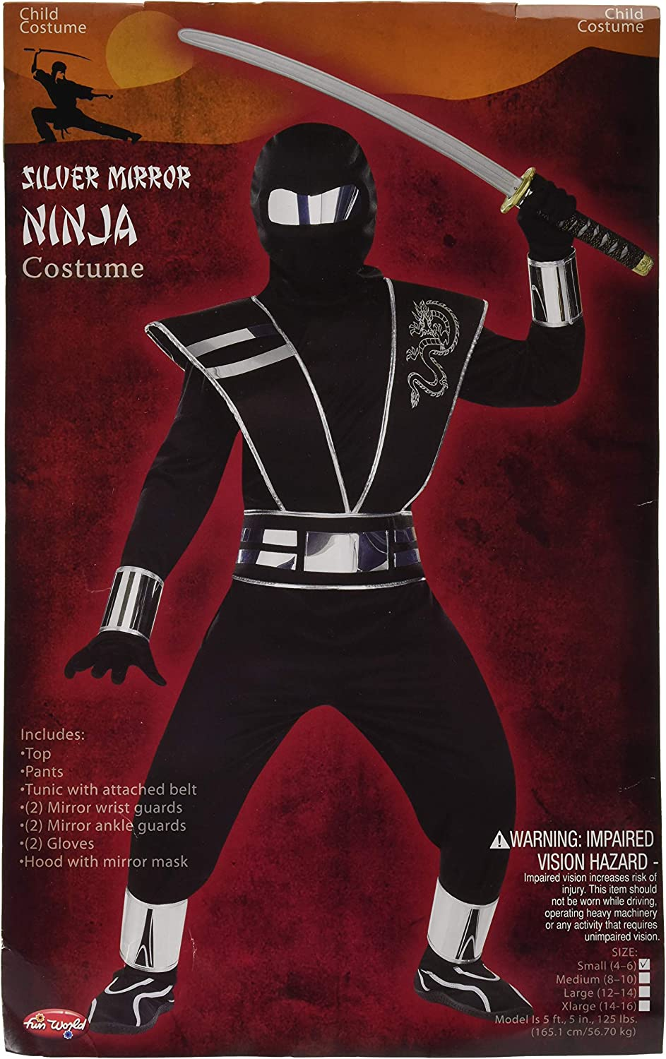 Small 4-6 Fun World Mirror Ninja Costume Multicolor