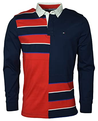 cec2fbbc Tommy Hilfiger Men's Long Sleeve Pieced Rugby Shirt - M - Navy/Red ...