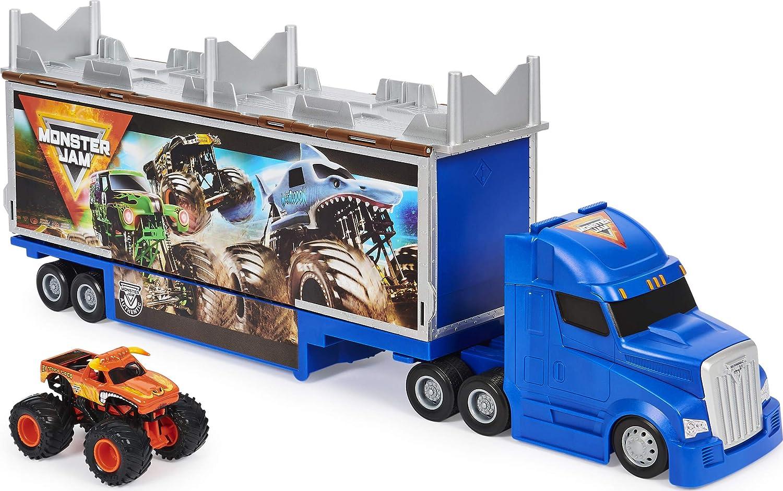Monster Jam Juego Oficial 2 en 1 de transformación de Hauler con Exclusivo camión Monstruo de Escala 1:64 El Toro Loco