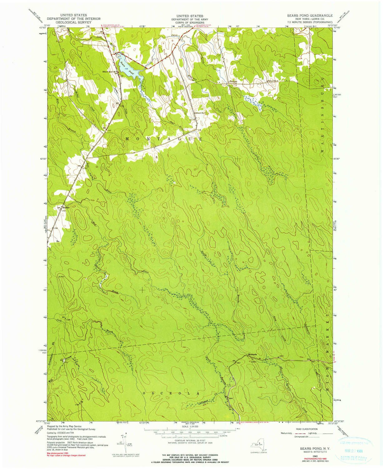 Amazon.com: YellowMaps Sears Pond NY topo map, 1:24000 Scale ...