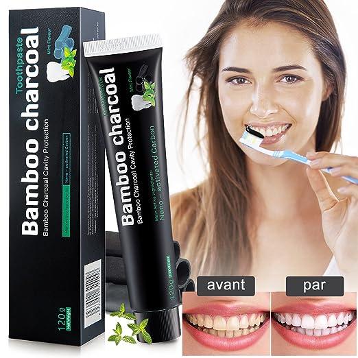 Repou Dentifrice Blanchiment des dent, Dentifrice au Charbon de Bambou, Blanchissement dentaire, Blanchiment des dent, Dentifrice à la menthe