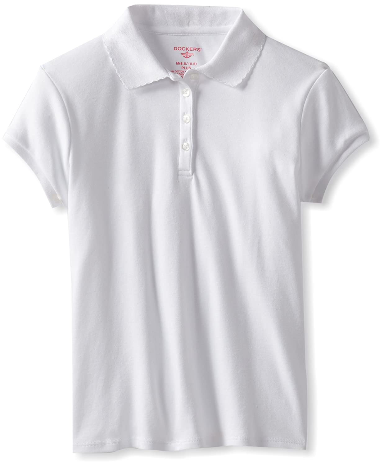 Dockers Big Girls Plus-Size Short Sleeve Interlock Polo with Pico