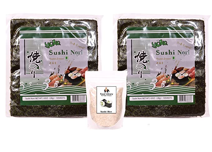 FOOD LIBRARY THE MAGIC OF NATURE 200g Sushi Rice with Yoka Nori Roasted Seaweed Sheets (20)