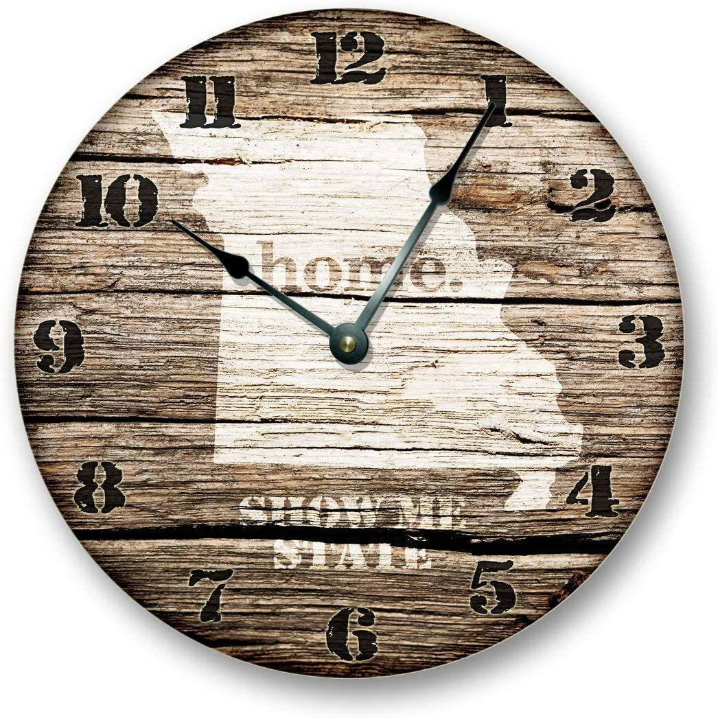 Missouri State Map Wall Clock Old Weathered Boards Rustic Cabin Country Decor