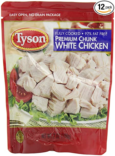 Amazon.com : Tyson Chunk Chicken Breast, 7-Ounce Pouches (Pack of 12) :  Packets Chicken : Grocery & Gourmet Food