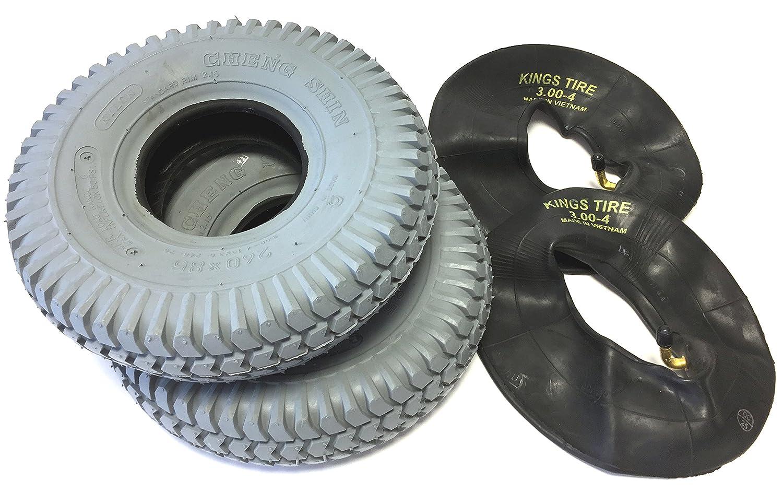 Silla 2 neumáticos 3.00 - 4 (260 x 85) gris + 2 unidades Manguera ángulo Válvula, neumáticos kräftiges bloque perfil, estructura 4 PR Neumáticos y estable, ...