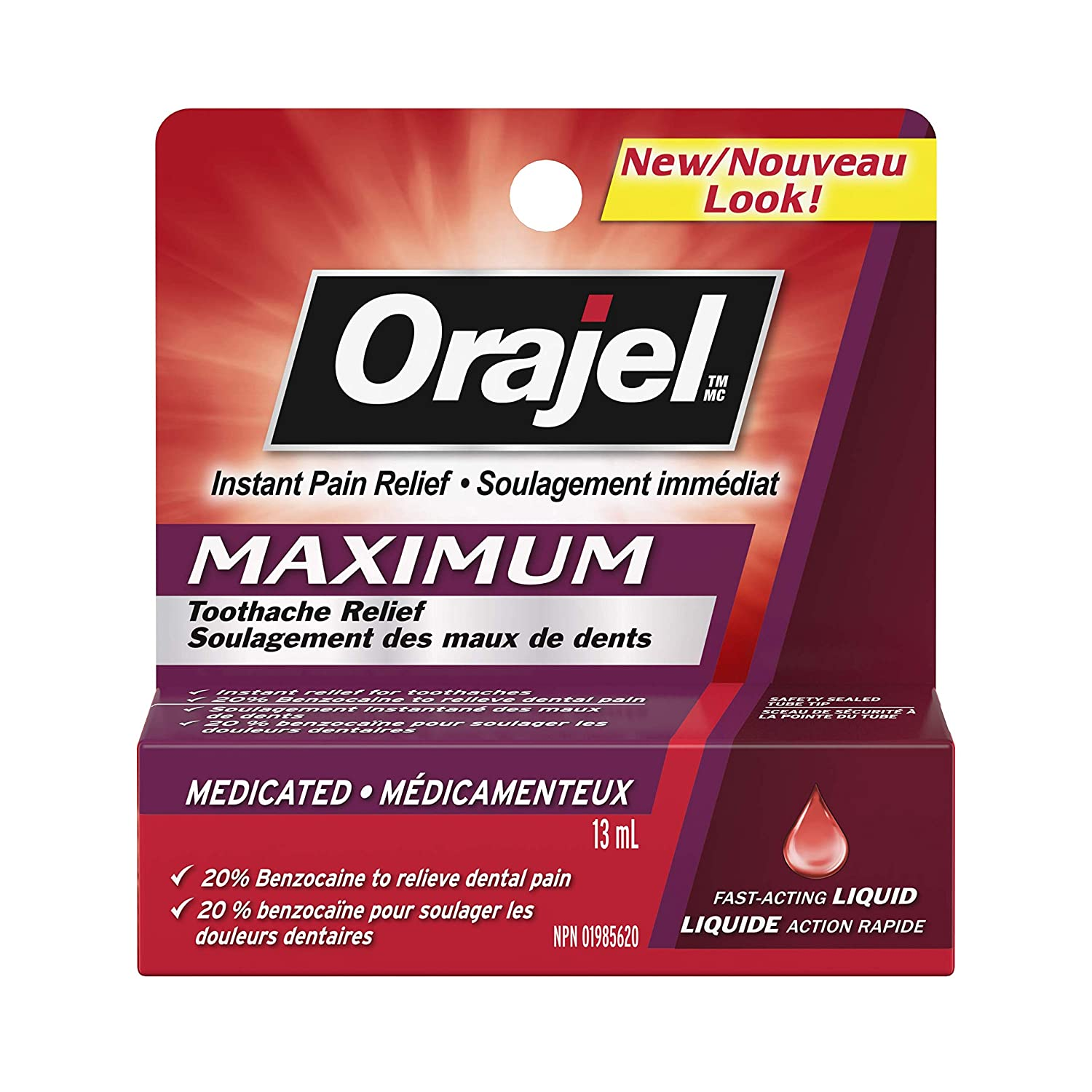 Orajel Maximum Strength Toothache Pain Relief Liquid, 13-ml