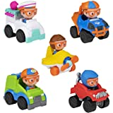 Blippi Mini Mobiles, 5 Pack Mini Vehicles - Features Character Toy Figure In Each Vehicle: Mobile/Car, Monster Truck, Recycle