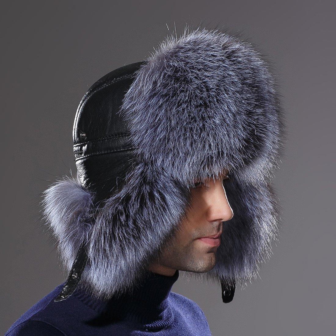URSFUR Winter Mens Trapper Hat Real Leather Silver Fox Fur Russian Ushanka Cap by URSFUR (Image #9)