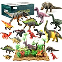 BeebeeRun 44 Pieces Dinosaur Toys Cake Topper Educational Animal Toy Gift Playset with Tree Plant Floret Grass and…