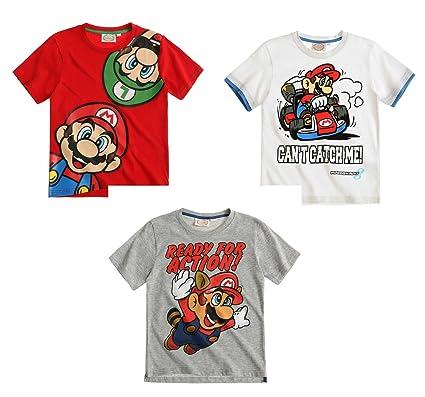 Super Mario Bros Camiseta de Manga Corta - Rojo - 140: Amazon.es: Ropa y accesorios