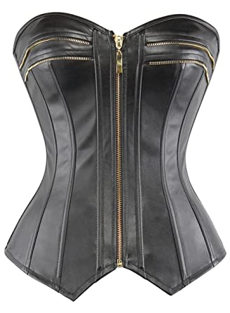 8d43b4afd3 lttcbro Women s Strapless Faux Leather Overbust Corset Bustier Top Small  Black