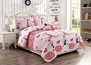 Elegant Home Paris Eiffel Tower Bonjour Design Pink White Printed Reversible Cozy Colorful 4 Piece Quilt Bedspread Set with Pillowcases and Decorative Pillow for Kids/Girls (Full/Queen)