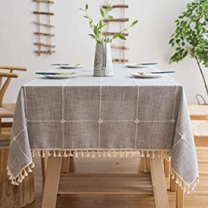 OstepDecor Tablecloth 55 x 102 Inch, Rectangle Table Cloth for 6 ft Table, Cotton Linen Tablecloths, Table Cover for Kitchen Dinning Room Party, Gray
