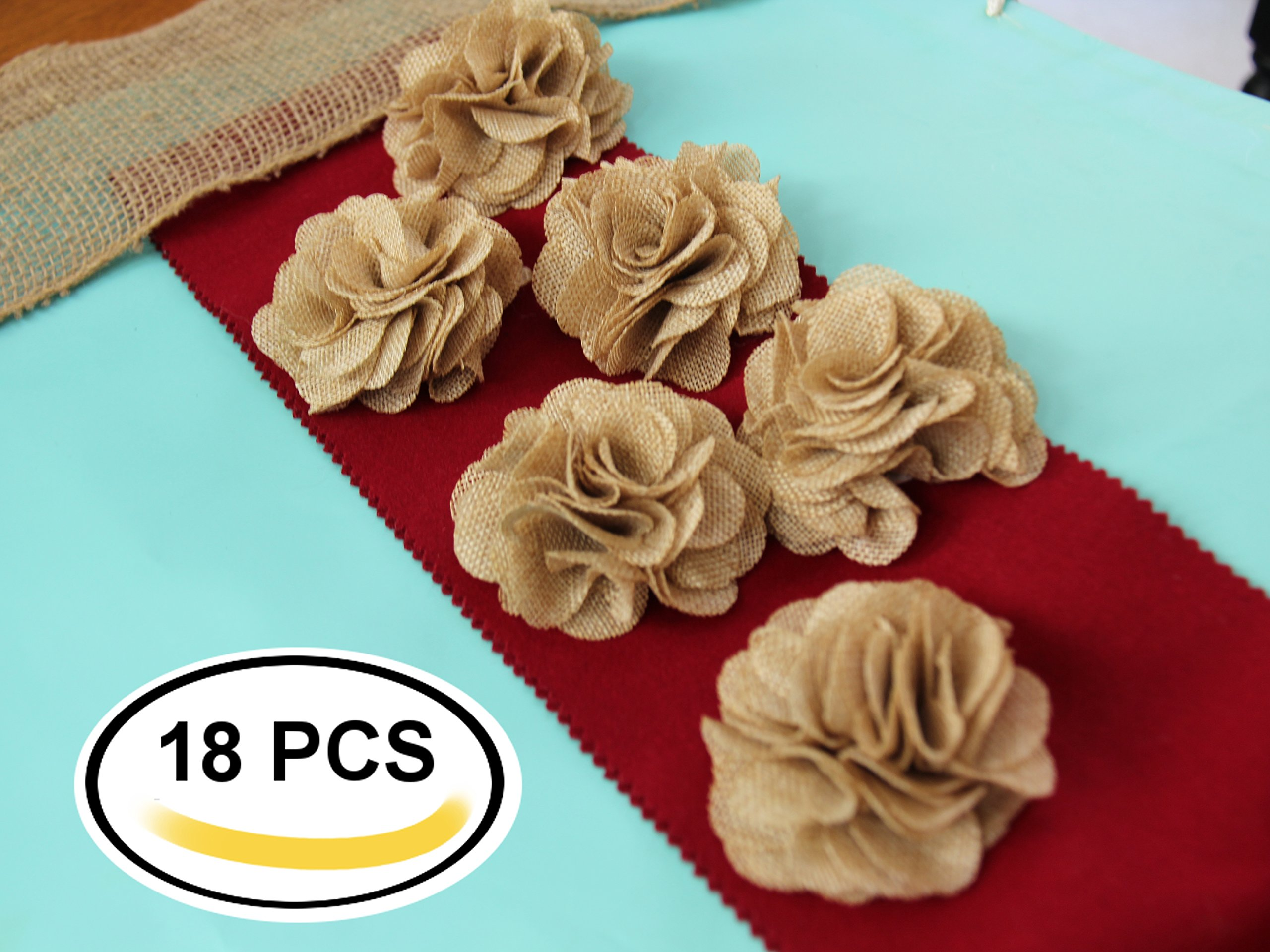 3'' Burlap Rustic Flowers Rose (18 Pcs) Chic,Wedding Decor,Craft Country,Natural!