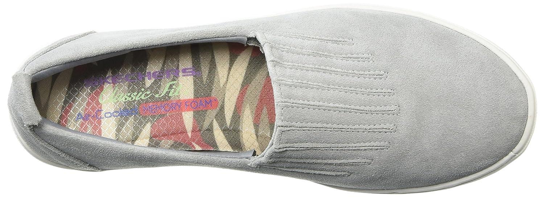 Skechers Women's Comfort Europa-Gored Slip Skech-Air Midsole and Classic Fit Sneaker B079K791WQ 8.5 B(M) US|Gray