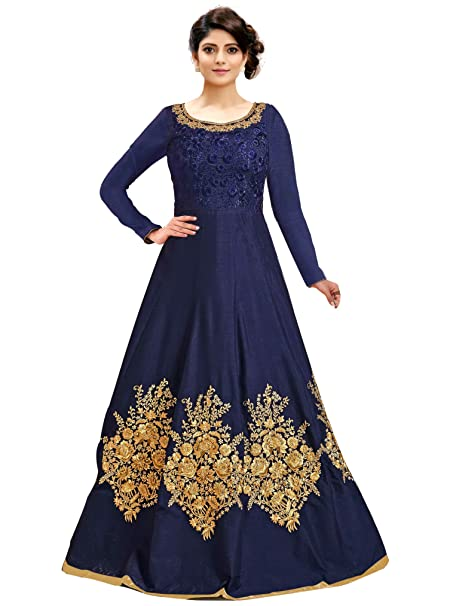 29e8852f52 Siddeshwary Fab Women s Taffeta Silk Anarkali Gown (Navy Blue  Free  Size Semi Stitched)  Amazon.in  Clothing   Accessories