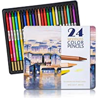 Bailive Woodless Colored Pencils for Adults Set of 24 Soft Wax-Based Cores Premium Art Drawing Pencils for Kids…