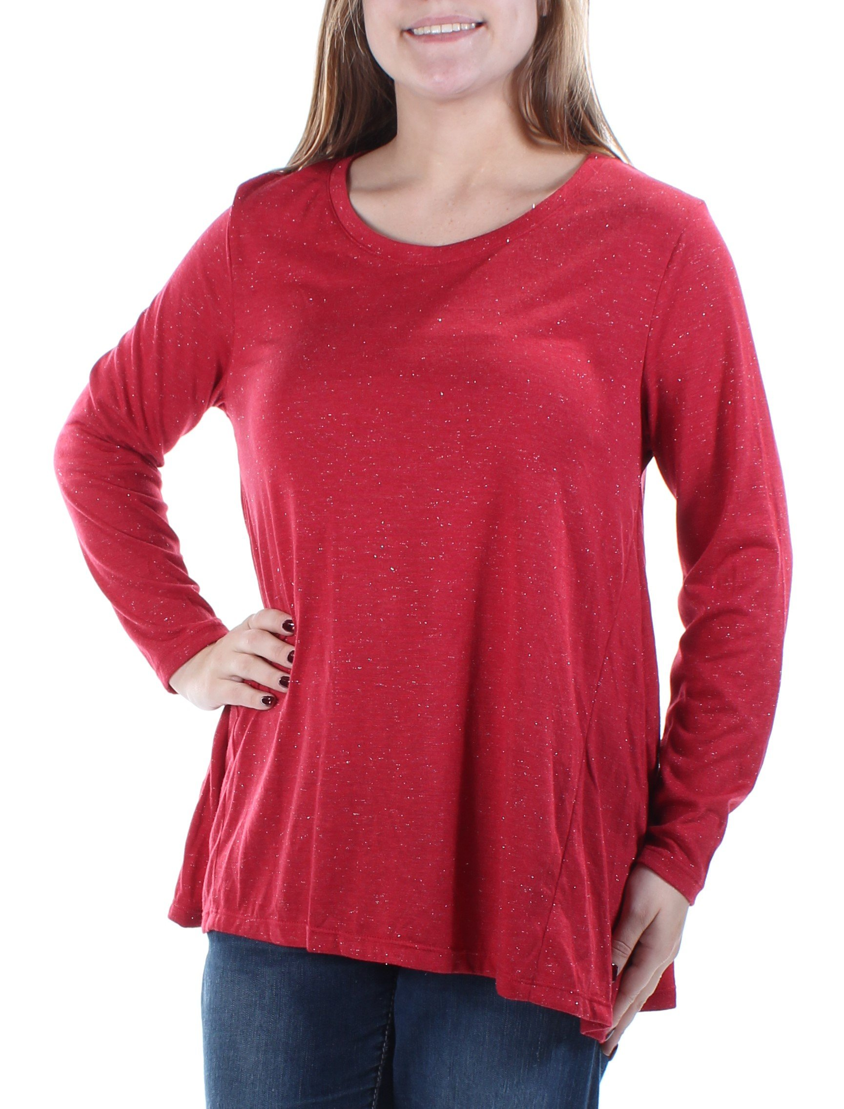 Style & Co. Womens Petites Metallic Knit Pullover Top Red PM