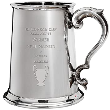 European Cup Champions Real Madrid 1957-58, 1pt Pewter Celebration Tankard, Football Champion: Amazon.es: Hogar