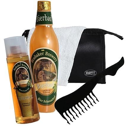Brubaker – Juego de baño con extracto de cerveza – 5 unidades – regalo ideal para hombre – con neceser de baño, toalla y peine sexy