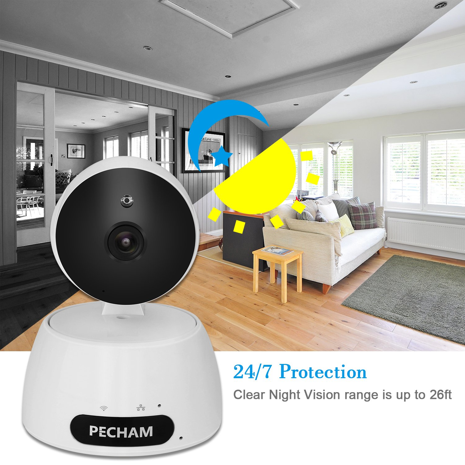 PECHAM 960P HD WiFi Security Camera, Wireless IP Surveillance Camera with Motion Detection, 2 Way Audio, Baby and Home Monitor, Control & Remote Viewing by Smartphone App for iOS and Android